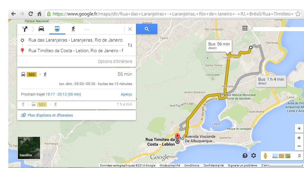 imrpim écran google maps - les bus